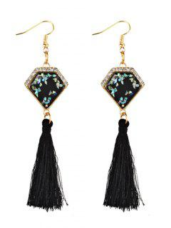 Rhinestone Embellished Artificial Sapphire Fringed Drop Earrings - Black