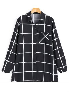 Side Slit Grid Shirt - Black S