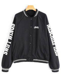 Flocking Letter Print Baseball Jacket - Black L
