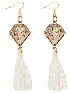 Rhinestone Embellished Artificial Sapphire Fringed Drop Earrings - White