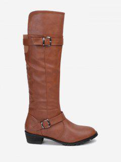 Buckle Straps Chunky Heel Knee High Boots - Brown 38