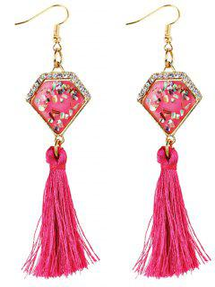 Rhinestone Embellished Artificial Sapphire Fringed Drop Earrings - Rose Red