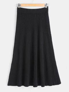 Plain A Line Knitted Skirt - Black