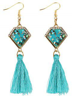 Rhinestone Embellished Artificial Sapphire Fringed Drop Earrings - Sky Blue