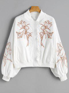 Ruffle Floral Embroidered Drop Shoulder Jacket - White