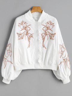 Rüsche Mit Blumen Bestickt Drop Shoulder Jacke - Weiß