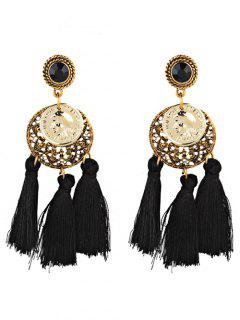 Alloy Round Frame Embellished Long Tassel Earrings - Black