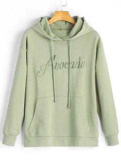 Kangaroo Pocket Embroidered Hoodie - Pea Green M
