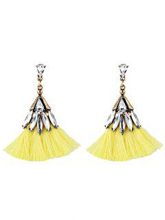 Crystal Embellished Fan Shape Fringed Drop Earrings - Yellow