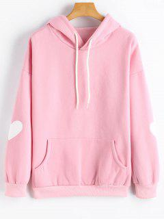Flocking Heart Drop Shoulder Hoodie - Pink