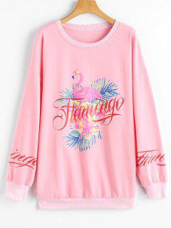 Drop Shoulder Flamingo Letter Print Sweatshirt - Pink