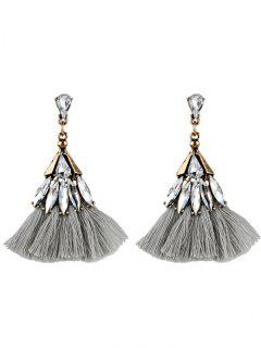 Crystal Embellished Fan Shape Fringed Drop Earrings - Gray