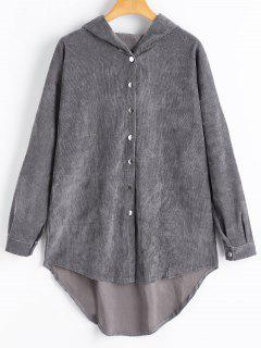 High Low Corduroy Button Up Hoodie - Deep Gray