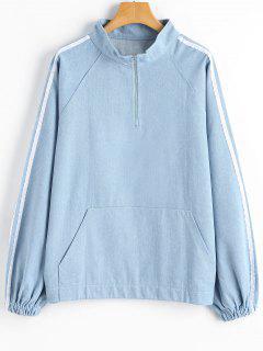Half Zipper Raglan Sleeve Denim Sweatshirt - Light Blue