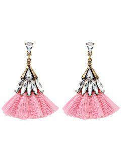 Crystal Embellished Fan Shape Fringed Drop Earrings - Pink