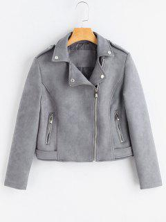 Asymmetric Zippered Faux Suede Jacket - Gray M