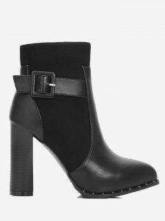 Rivets High Heel Buckle Strap Boots - Black 34