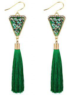 Triangle Shape Crystal Embellished Fringed Drop Earrings - Green