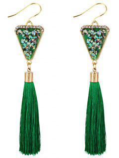 Boucles D'Oreilles Pendantes Longues Motif Triangle En Cristal Et Pompon - Vert