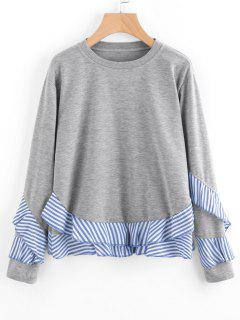 Drop Shoulder Striped Ruffle Hem Sweatshirt - Gray 2xl
