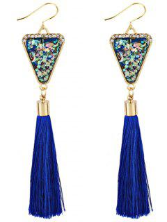 Triangle Shape Crystal Embellished Fringed Drop Earrings - Blue