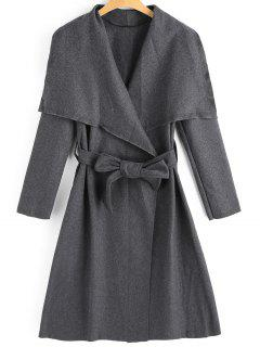 Belted Skirted Wool Blend Coat - Deep Gray L
