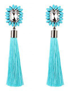 Rhinestone Embellished Long Fringed Earrings - Sky Blue