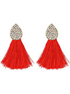 Water Drop Shape Rhinestone Embellished Tassel Earrings - Red