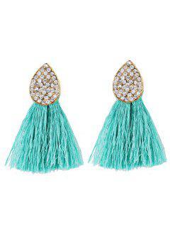 Water Drop Shape Rhinestone Embellished Tassel Earrings - Green