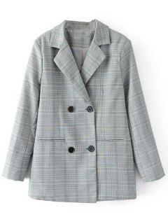 Button Up Checked Blazer - Checked M