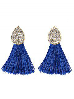 Water Drop Shape Rhinestone Embellished Tassel Earrings - Blue