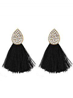 Water Drop Shape Rhinestone Embellished Tassel Earrings - Black