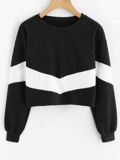 Sweatshirt Court à épaules Contrastantes Et épaules Dénudées - Blanc Et Noir S