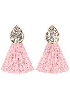 Water Drop Shape Rhinestone Embellished Tassel Earrings - Pink
