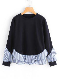 Drop Shoulder Striped Ruffle Hem Sweatshirt - Black S