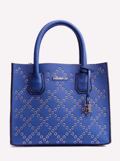 Rivets Geometric PU Leather Handbag - Blue
