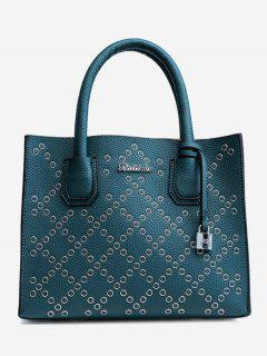 Rivets Geometric PU Leather Handbag - Green