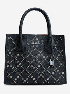 Rivets Geometric PU Leather Handbag - Black