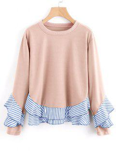 Drop Shoulder Striped Ruffle Hem Sweatshirt - Naranja Rosa S