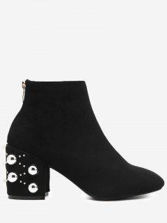 Chunky Heel Rivets Rhinestone Boots - Black 38