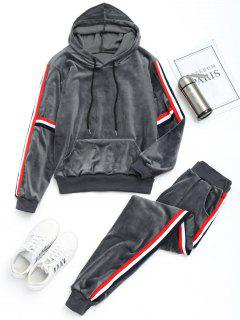 Velvet Striped Hoodie With Pants Gym Suit - Gray