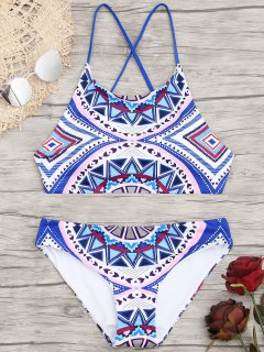 Bikini De Patrón Geométrico Con Espalda Cruzada - M