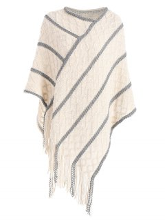 Fringe Cable Knit Poncho Sweater - Off-white