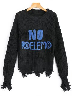 Letter Embellished Frayed Chunky Sweater - Black