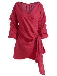 Mini Robe Cintrée à Manches Courtes - Rouge S