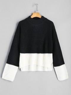 Two Tone Mock Neck Sweater - Black