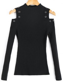Mock Neck Studded Cold Shoulder Sweater - Black