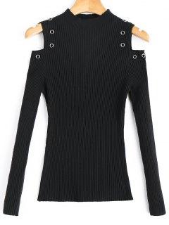 Pullover Mit Mock Neck Verziert Und Kalter Schulter - Schwarz