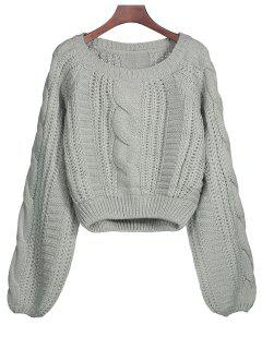 Lantern Sleeve Cable Knit Sweater - Gray