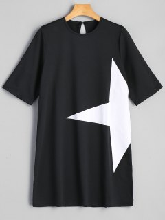 Star Graphic Tunic Dress - Black L